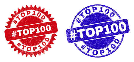 Round and rosette #TOP100 seal stamps. Flat vector distress seal stamps with #TOP100 phrase inside round and sharp rosette shape, in red and blue colors. 일러스트