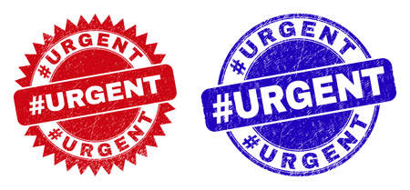 Rounded and rosette #URGENT stamps. Flat vector grunge seal stamps with #URGENT caption inside round and sharp rosette shape, in red and blue colors. Imprints with grunge style, on a white background.