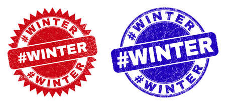 Round and rosette #WINTER seal stamps. Flat vector textured seal stamps with #WINTER title inside round and sharp rosette shape, in red and blue colors.