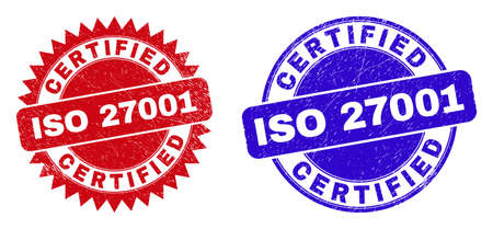 Round and rosette CERTIFIED ISO 27001 seal stamps. Flat vector grunge seal stamps with CERTIFIED ISO 27001 message inside round and sharp rosette form, in red and blue colors. 일러스트