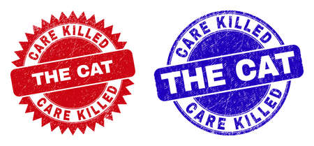 Round and rosette CARE KILLED THE CAT watermarks. Flat vector textured seal stamps with CARE KILLED THE CAT title inside round and sharp rosette form, in red and blue colors.