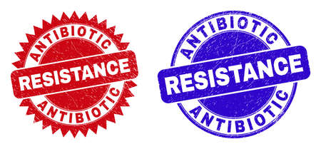 Round and rosette ANTIBIOTIC RESISTANCE seal stamps. Flat vector textured seal stamps with ANTIBIOTIC RESISTANCE phrase inside round and sharp rosette shape, in red and blue colors.