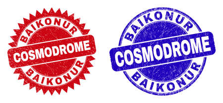 Round and rosette BAIKONUR COSMODROME seals. Flat vector grunge seals with BAIKONUR COSMODROME caption inside round and sharp rosette form, in red and blue colors. Imprints with unclean style,
