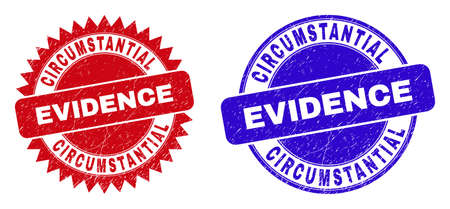 Round and rosette CIRCUMSTANTIAL EVIDENCE watermarks. Flat vector grunge watermarks with CIRCUMSTANTIAL EVIDENCE slogan inside round and sharp rosette form, in red and blue colors.