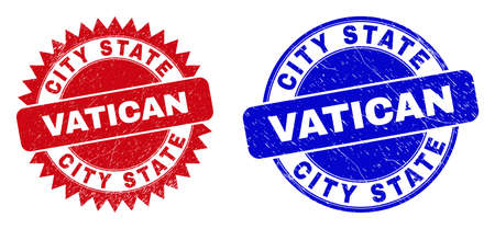Round and rosette CITY STATE VATICAN seal stamps. Flat vector distress stamps with CITY STATE VATICAN slogan inside round and sharp rosette form, in red and blue colors. 向量圖像