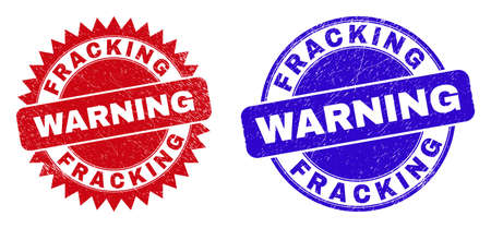 Round and rosette FRACKING WARNING watermarks. Flat vector textured watermarks with FRACKING WARNING tag inside round and sharp rosette form, in red and blue colors. Watermarks with unclean texture, Vektorgrafik