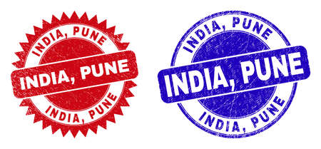 Round and rosette INDIA, PUNE stamps. Flat vector distress seal stamps with INDIA, PUNE slogan inside round and sharp rosette form, in red and blue colors. Watermarks with grunge surface,