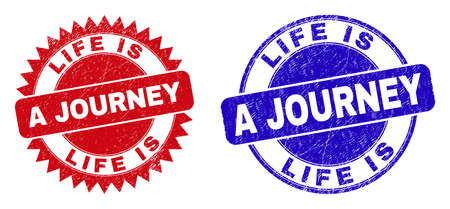 Round and rosette LIFE IS A JOURNEY watermarks. Flat vector grunge watermarks with LIFE IS A JOURNEY text inside round and sharp rosette form, in red and blue colors.