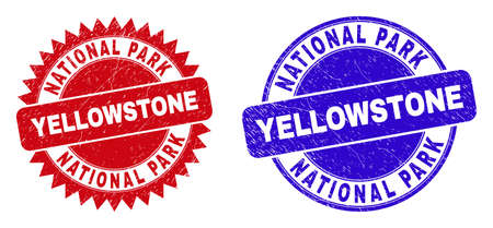 Round and rosette NATIONAL PARK YELLOWSTONE watermarks. Flat vector grunge stamps with NATIONAL PARK YELLOWSTONE phrase inside round and sharp rosette shape, in red and blue colors.