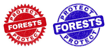 Round and rosette PROTECT FORESTS seal stamps. Flat vector distress stamps with PROTECT FORESTS phrase inside round and sharp rosette shape, in red and blue colors. Imprints with distress texture,