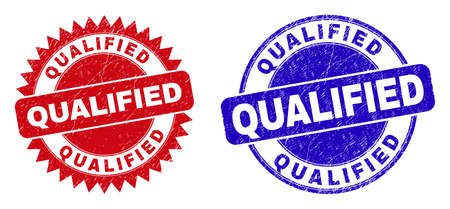 Round and rosette QUALIFIED seals. Flat vector textured seals with QUALIFIED slogan inside round and sharp rosette shape, in red and blue colors. Imprints with corroded style, on a white background.