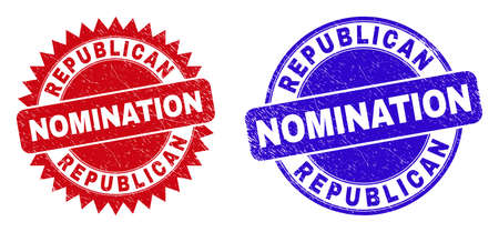 Round and rosette REPUBLICAN NOMINATION seal stamps. Flat vector textured seal stamps with REPUBLICAN NOMINATION phrase inside round and sharp rosette shape, in red and blue colors.
