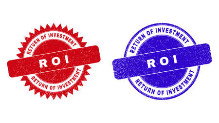 Round and rosette RETURN OF INVESTMENT R O I seal stamps. Flat vector distress seal stamps with RETURN OF INVESTMENT R O I caption inside round and sharp rosette form, in red and blue colors.