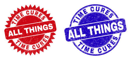 Round and rosette TIME CURES ALL THINGS seal stamps. Flat vector scratched seal stamps with TIME CURES ALL THINGS text inside round and sharp rosette form, in red and blue colors.