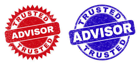 Round and rosette TRUSTED ADVISOR seal stamps. Flat vector textured seal stamps with TRUSTED ADVISOR phrase inside round and sharp rosette form, in red and blue colors. Watermarks with grunged style, Çizim