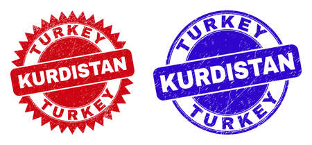 Round and rosette TURKEY KURDISTAN seal stamps. Flat vector scratched seal stamps with TURKEY KURDISTAN message inside round and sharp rosette shape, in red and blue colors.