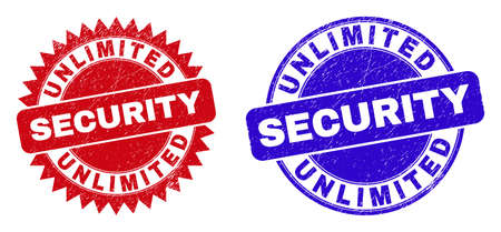 Rounded and rosette UNLIMITED SECURITY seal stamps. Flat vector grunge seal stamps with UNLIMITED SECURITY tag inside round and sharp rosette shape, in red and blue colors.
