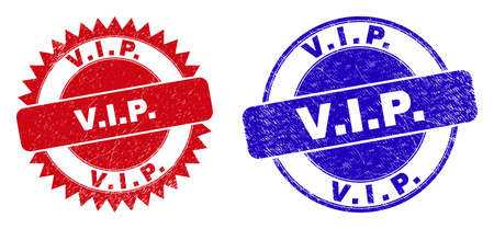 Round and rosette V.I.P. stamps. Flat vector distress stamps with V.I.P. text inside round and sharp rosette form, in red and blue colors. Imprints with unclean texture, on a white background.