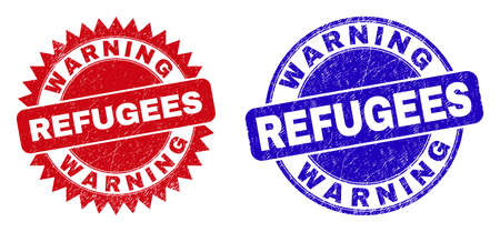 Round and rosette WARNING REFUGEES stamps. Flat vector distress stamps with WARNING REFUGEES slogan inside round and sharp rosette form, in red and blue colors.