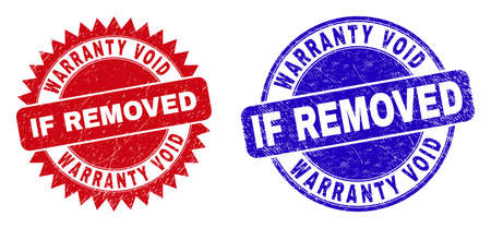 Round and rosette WARRANTY VOID IF REMOVED seal stamps. Flat vector scratched seal stamps with WARRANTY VOID IF REMOVED phrase inside round and sharp rosette form, in red and blue colors.