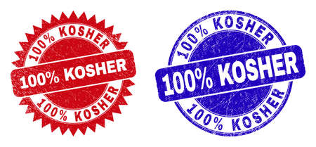 Round and rosette 100% KOSHER seal stamps. Flat vector scratched seal stamps with 100% KOSHER message inside round and sharp rosette shape, in red and blue colors. Imprints with unclean style, Vektoros illusztráció