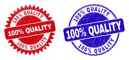 Round and rosette 100% QUALITY seal stamps. Flat vector textured seal stamps with 100% QUALITY text inside round and sharp rosette form, in red and blue colors. Rubber imitations with corroded style, Vektoros illusztráció