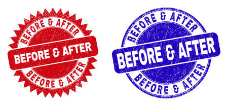 Round and rosette BEFORE & AFTER seal stamps. Flat vector distress seal stamps with BEFORE & AFTER slogan inside round and sharp rosette form, in red and blue colors. Imprints with grunged surface,  イラスト・ベクター素材