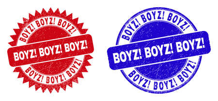 Round and rosette BOYZ! BOYZ! BOYZ! seal stamps. Flat vector scratched stamps with BOYZ! BOYZ! BOYZ! phrase inside round and sharp rosette form, in red and blue colors. Imprints with unclean texture,
