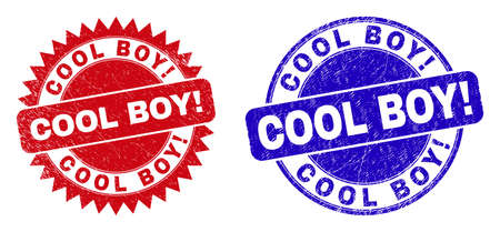 Round and rosette COOL BOY! seal stamps. Flat vector scratched seal stamps with COOL BOY! tag inside round and sharp rosette shape, in red and blue colors. Rubber imitations with scratched style, Ilustracja