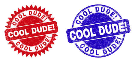 Rounded and rosette COOL DUDE! watermarks. Flat vector grunge watermarks with COOL DUDE! slogan inside round and sharp rosette form, in red and blue colors. Rubber imitations with grunge texture,