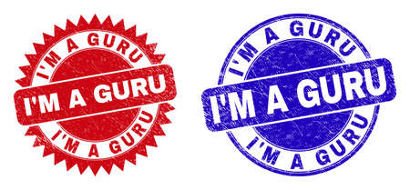 Round and rosette IM A GURU seal stamps. Flat vector distress stamps with IM A GURU message inside round and sharp rosette shape, in red and blue colors. Rubber imitations with scratched texture,