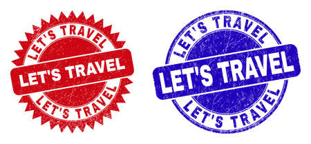 Round and rosette LETS TRAVEL watermarks. Flat vector scratched stamps with LETS TRAVEL message inside round and sharp rosette shape, in red and blue colors. Watermarks with unclean surface, Vektorgrafik