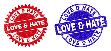 Round and rosette LOVE & HATE seal stamps. Flat vector scratched seal stamps with LOVE & HATE text inside round and sharp rosette shape, in red and blue colors. Imprints with corroded texture,
