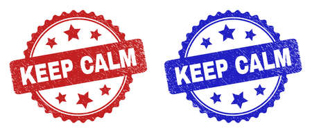 Rosette KEEP CALM seal stamps. Flat vector distress seal stamps with KEEP CALM text inside rosette with stars, in blue and red color versions. Imprints with scratched style.