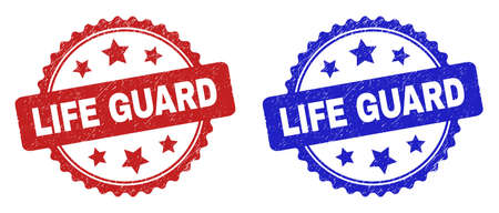 Rosette LIFE GUARD stamps. Flat vector scratched stamps with LIFE GUARD text inside rosette with stars, in blue and red color variants. Rubber imitations with scratched surface.