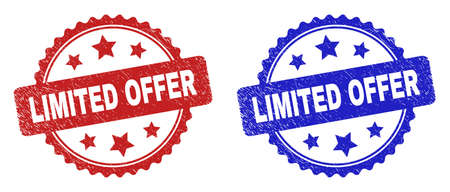 Rosette LIMITED OFFER watermarks. Flat vector scratched watermarks with LIMITED OFFER phrase inside rosette with stars, in blue and red color variants. Watermarks with grunge style.