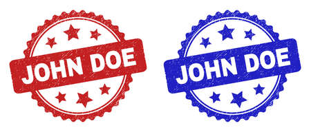 Rosette JOHN DOE seals. Flat vector textured watermarks with JOHN DOE phrase inside rosette with stars, in blue and red color variants. Watermarks with unclean texture.