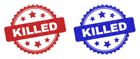 Rosette KILLED seal stamps. Flat vector scratched seal stamps with KILLED phrase inside rosette with stars, in blue and red color variants. Imprints with distress texture. Illusztráció