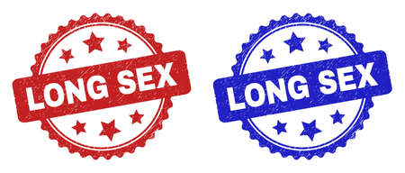Rosette LONG SEX seal stamps. Flat vector scratched stamps with LONG SEX title inside rosette shape with stars, in blue and red color versions. Rubber imitations with corroded surface.