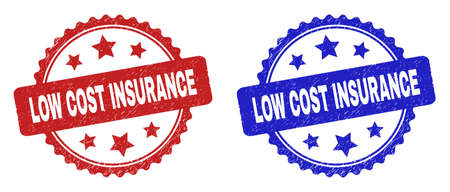 Rosette LOW COST INSURANCE seal stamps. Flat vector scratched stamps with LOW COST INSURANCE title inside rosette shape with stars, in blue and red color variants.