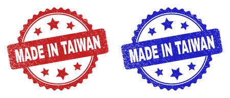 Rosette MADE IN TAIWAN watermarks. Flat vector grunge watermarks with MADE IN TAIWAN phrase inside rosette with stars, in blue and red color versions. Watermarks with unclean surface.