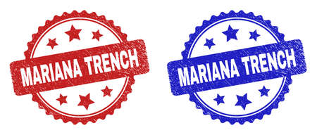 Rosette MARIANA TRENCH seal stamps. Flat vector scratched seal stamps with MARIANA TRENCH message inside rosette shape with stars, in blue and red color versions. Imprints with unclean style.