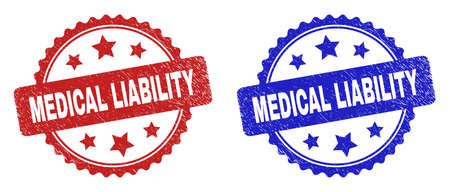Rosette MEDICAL LIABILITY seal stamps. Flat vector grunge seal stamps with MEDICAL LIABILITY message inside rosette with stars, in blue and red color versions. Watermarks with distress texture.