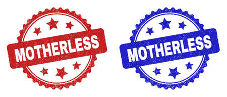 Rosette MOTHERLESS seal stamps. Flat vector distress stamps with MOTHERLESS text inside rosette with stars, in blue and red color variants. Imprints with distress surface. Ilustração