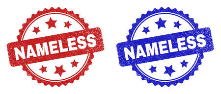Rosette NAMELESS stamps. Flat vector distress seal stamps with NAMELESS caption inside rosette shape with stars, in blue and red color variants. Imprints with distress surface.