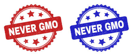 Rosette NEVER GMO stamps. Flat vector grunge seal stamps with NEVER GMO caption inside rosette with stars, in blue and red color variants. Rubber imitations with grunge style.