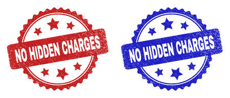 Rosette NO HIDDEN CHARGES seal stamps. Flat vector textured seal stamps with NO HIDDEN CHARGES text inside rosette shape with stars, in blue and red color variants.