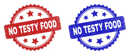 Rosette NO TESTY FOOD seal stamps. Flat vector textured seal stamps with NO TESTY FOOD caption inside rosette shape with stars, in blue and red color versions. Rubber imitations with grunged style.