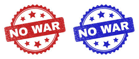 Rosette NO WAR watermarks. Flat vector grunge watermarks with NO WAR title inside rosette shape with stars, in blue and red color variants. Watermarks with unclean style.