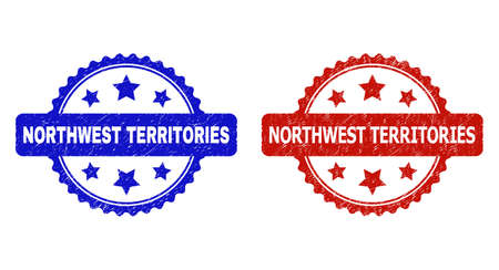 Rosette NORTHWEST TERRITORIES stamps. Flat vector distress stamps with NORTHWEST TERRITORIES caption inside rosette with stars, in blue and red color variants. Watermarks with distress style.